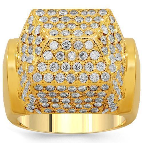 14K Solid Yellow Gold Mens Diamond Ring 3.50 Ctw