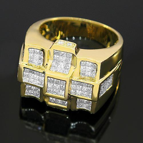 14K Solid Yellow Gold Mens Diamond Ring 3.87 Ctw