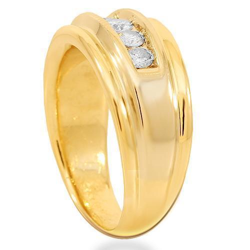 14K Solid Yellow Gold Mens Diamond Wedding Ring Band 0.75 Ctw