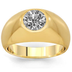 14K Solid Yellow Gold Mens Solitaire Clarity Enhanced Diamond Ring 1.45 Ctw