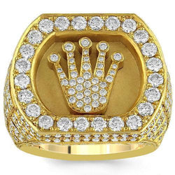 587e6edc2831f2 14K Solid Yellow Gold Mens Solitaire Crown Diamond Pinky Ring 5.74 Ctw –  Avianne Jewelers