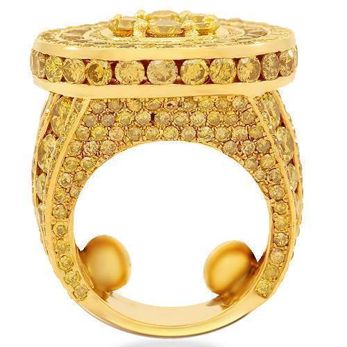 14K Solid Yellow Gold Mens Yellow Diamond Pinky Ring 15.90 Ctw