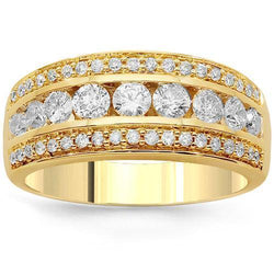 14K Solid Yellow Gold Womens Diamond Cocktail Ring 1.02 Ctw