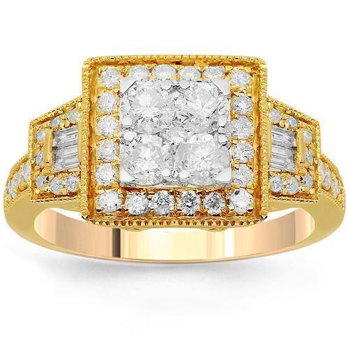 14K Solid Yellow Gold Womens Diamond Cocktail Ring 1.15 Ctw