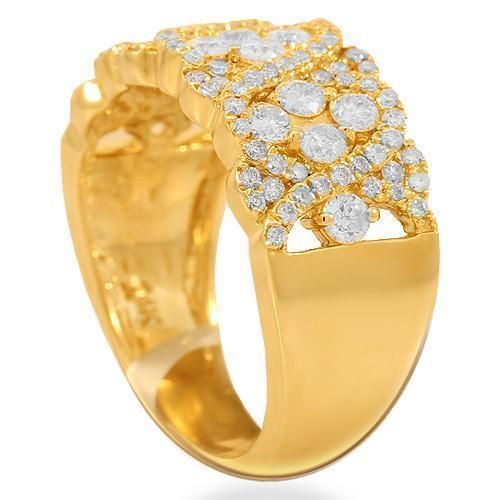 14K Solid Yellow Gold Womens Diamond Cocktail Ring 1.25 Ctw