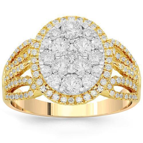 14K Solid Yellow Gold Womens Diamond Cocktail Ring 1.35 Ctw