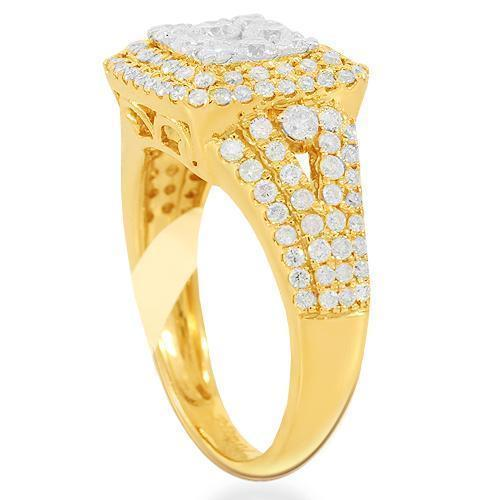 14K Solid Yellow Gold Womens Diamond Cocktail Ring 1.45 Ctw