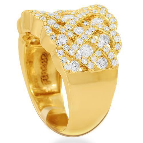 14K Solid Yellow Gold Womens Diamond Cocktail Ring 1.53 Ctw