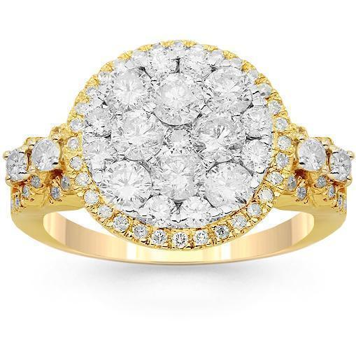 14K Solid Yellow Gold Womens Diamond Cocktail Ring 1.91 Ctw