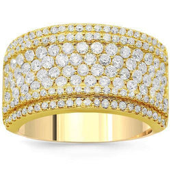 14K Solid Yellow Gold Womens Diamond Cocktail Ring 1.92 Ctw