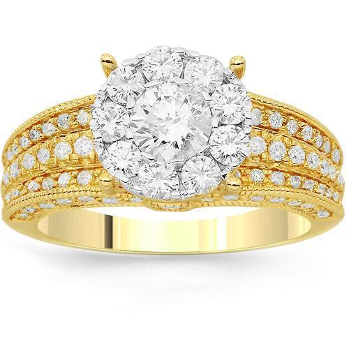 14K Solid Yellow Gold Womens Diamond Cocktail Ring 1.95 Ctw