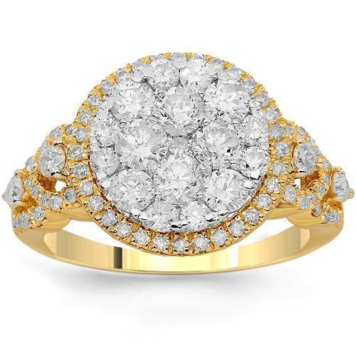 14K Solid Yellow Gold Womens Diamond Cocktail Ring 2.03 Ctw