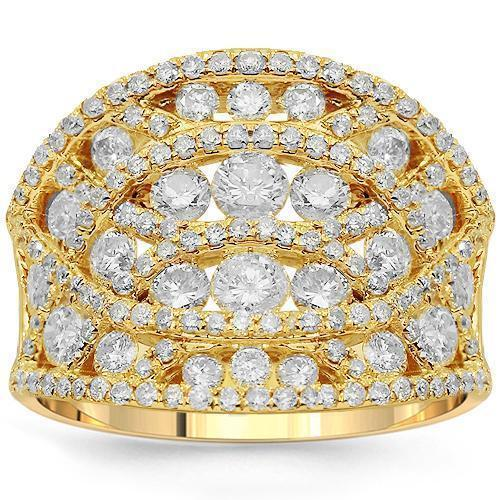 14K Solid Yellow Gold Womens Diamond Cocktail Ring 2.20 Ctw