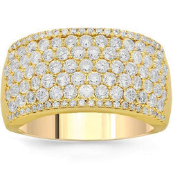 14K Solid Yellow Gold Womens Diamond Cocktail Ring 2.33 Ctw