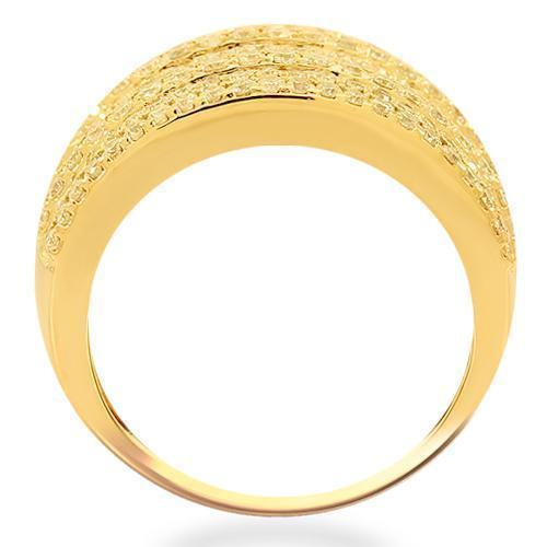 14K Solid Yellow Gold Womens Diamond Cocktail Ring 2.42 Ctw