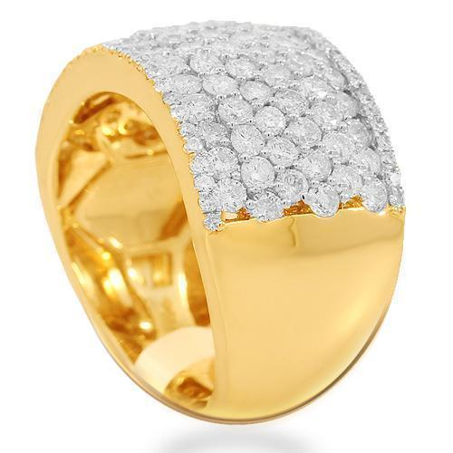 14K Solid Yellow Gold Womens Diamond Cocktail Ring 2.58 Ctw