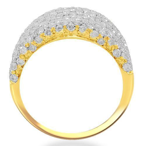 14K Solid Yellow Gold Womens Diamond Cocktail Ring 2.71 Ctw