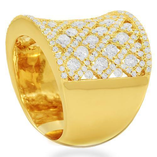14K Solid Yellow Gold Womens Diamond Cocktail Ring 2.79 Ctw