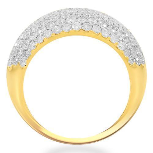 14K Solid Yellow Gold Womens Diamond Cocktail Ring 3.13 Ctw