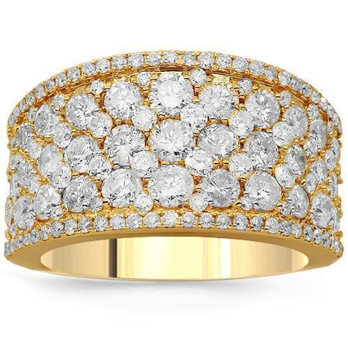 14K Solid Yellow Gold Womens Diamond Cocktail Ring 3.35 Ctw