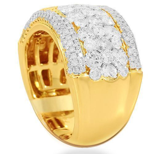 14K Solid Yellow Gold Womens Diamond Cocktail Ring 3.44 Ctw