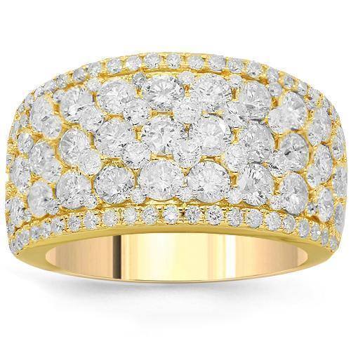14K Solid Yellow Gold Womens Diamond Cocktail Ring 3.68 Ctw