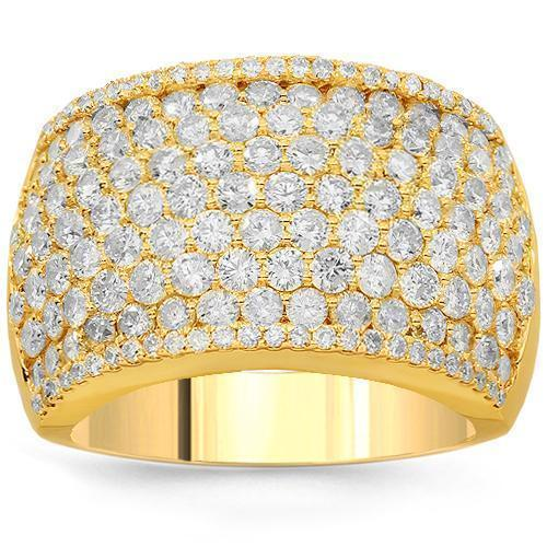 14K Solid Yellow Gold Womens Diamond Cocktail Ring 3.69 Ctw