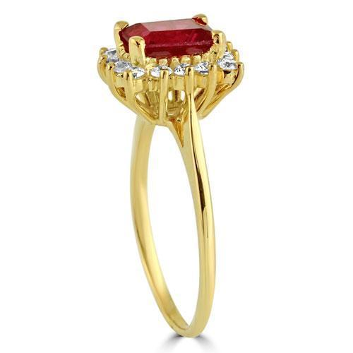 14K Solid Yellow Gold Womens Diamond Ruby Ring 0.50 Ctw