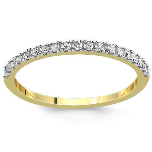 14K  Solid Yellow Gold Womens Diamond Wedding Ring Band 0.21 Ctw
