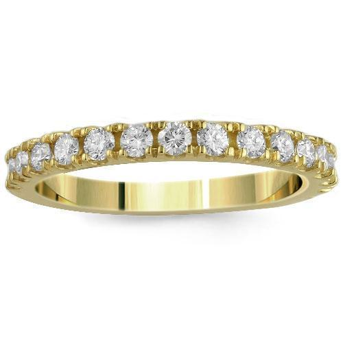 14K Solid Yellow Gold Womens Diamond Wedding Ring Band 0.75  Ctw