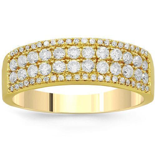 14K Solid Yellow Gold Womens Diamond Wedding Ring Band 0.77 Ctw