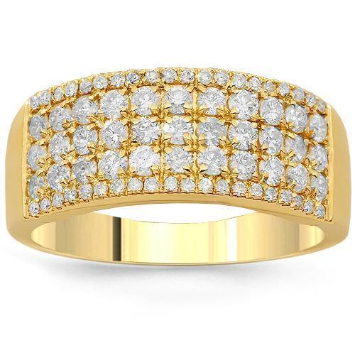 14K Solid Yellow Gold Womens Diamond Wedding Ring Band 1.03 Ctw