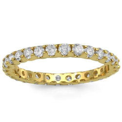 14K Solid Yellow Gold Womens Diamond Wedding Ring Band 1.10  Ctw