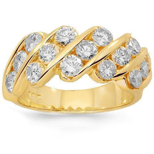 14K Solid Yellow Gold Womens Diamond Wedding Ring Band 2.15 Ctw