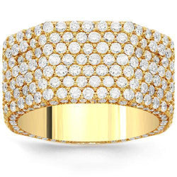 14K Solid Yellow Gold Womens Diamond Wedding Ring Band 3.50 Ctw
