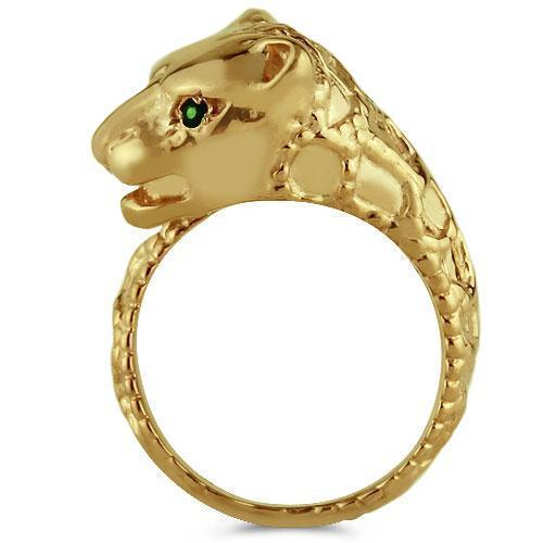14K Solid Yellow Gold Womens Emerald Tiger Animal Ring 0.06 Ctw