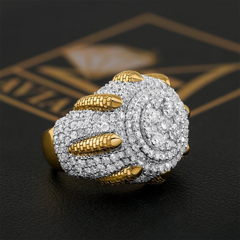 14K Two Tone Gold Diamond Pinky Ring 5.27 Ctw