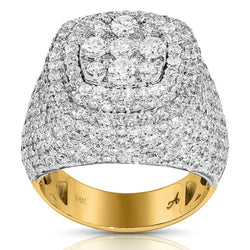 14K Two Tone Gold Diamond Pinky Ring 6.46 Ctw