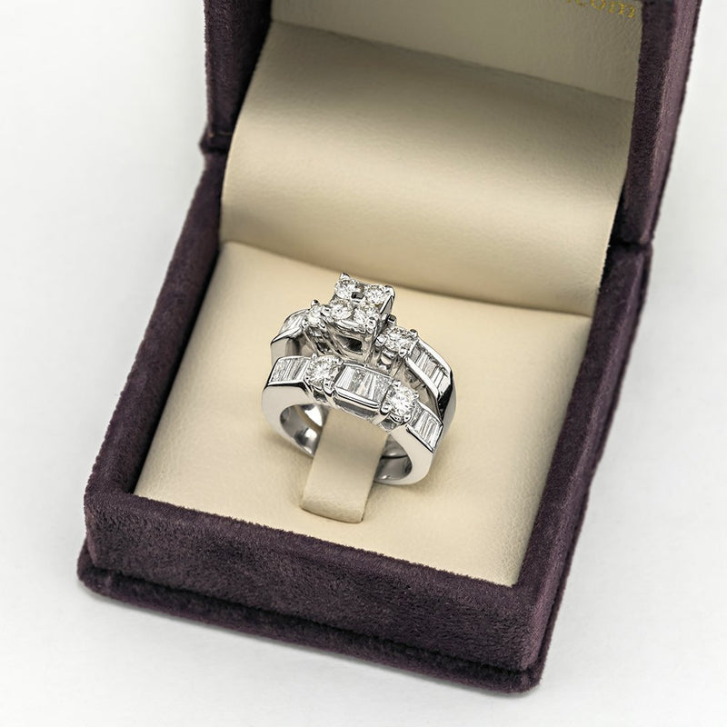 14K White Gold Diamond Bridal Ring Set 3.03 Ctw
