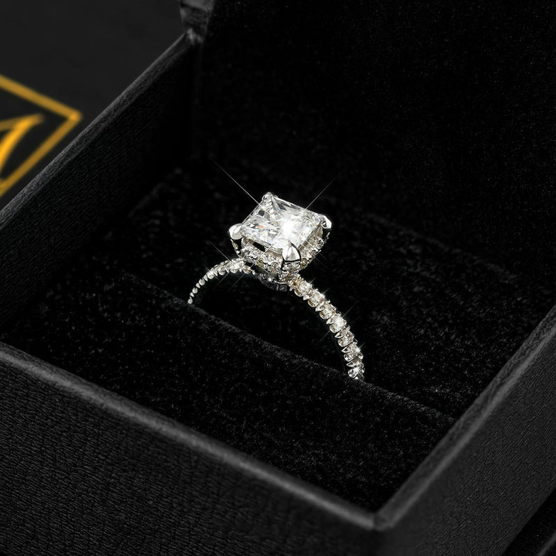 14k White Gold Princess Cut Center Stone Diamond Engagement Ring 3.20 Ctw