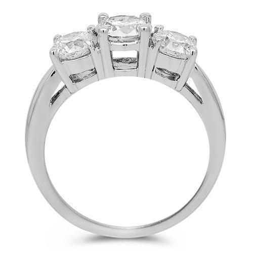 14K White Gold Three Stone Diamond Engagement Ring 1.75 Ctw