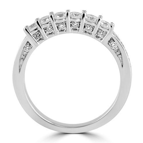 14K White Solid Gold Beautiful Womens Diamond Multi Stone Bridal Ring Set 2.04 Ctw