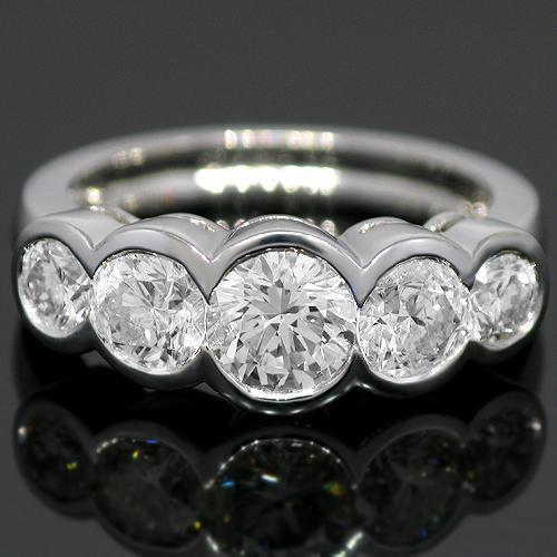 14K White Solid Gold Clarity Enhanced Five Stone Diamond  Anniversary Ring  2.59 Ctw