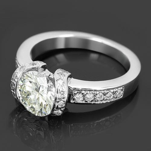 14K White Solid Gold Custom Diamond Engagement Ring