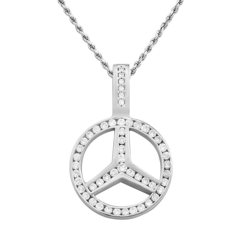 White 14K White Solid Gold Custom Diamond Pendant 1.59 Ctw