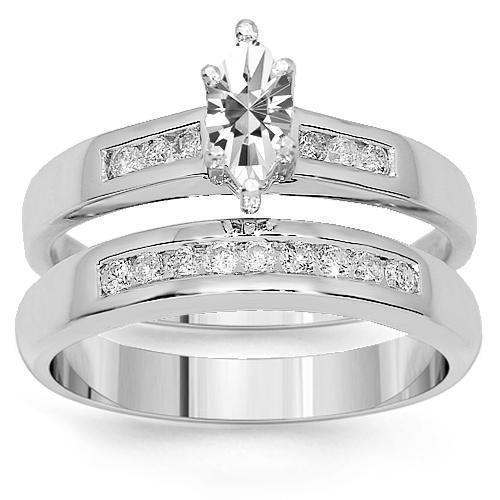 14K White Solid Gold Diamond Bridal Ring Set 0.66 Ctw