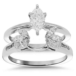 14K White Solid Gold Diamond Bridal Ring Set 1 Ctw