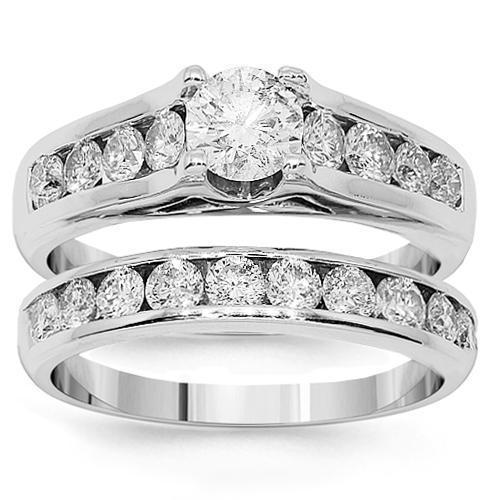 14K White Solid Gold Diamond Bridal Ring Set 3.48 Ctw