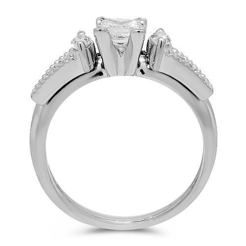 14K White Solid Gold Diamond Engagement Ring 1.00 Ctw
