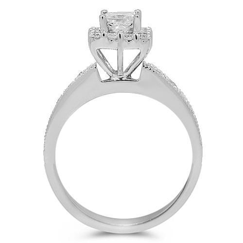 14K White Solid Gold Diamond Engagement Ring 1.28 Ctw